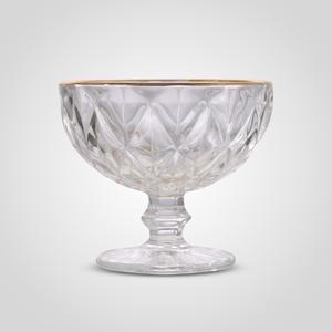 Стеклянная Прозрачная Креманка с Золотистой Каймой