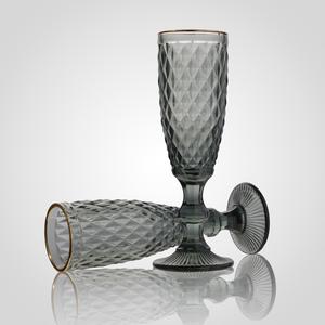 Бокал для Шампанского Стеклянный Серый с Золотистой Каймой