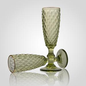 Бокал для Шампанского Стеклянный Зеленый с Золотистой Каймой