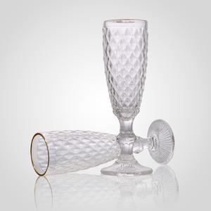 Бокал для Шампанского Стеклянный Прозрачный с Золотистой Каймой