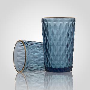 Стакан для Воды Стеклянный Синий с Золотистой Каймой