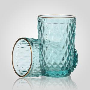Стакан для Воды Стеклянный Голубой с Золотистой Каймой