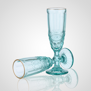 Бокал для Шампанского Стеклянный Голубой с Золотистой Каймой