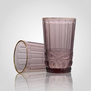 Стакан Стеклянный Розовый с Золотистой Каймой