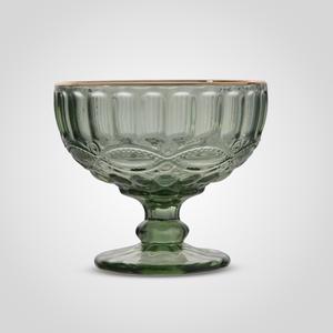 Креманка Стеклянная Зеленая с Золотистой Каймой