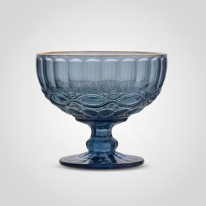 Креманка Стеклянная Синяя с Золотистой Каймой