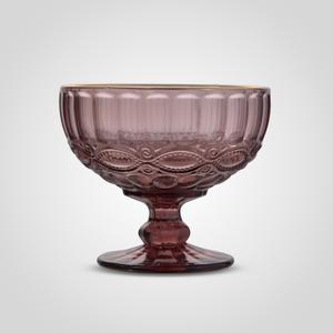 Креманка Стеклянная Розовая с Золотистой Каймой