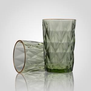 Стеклянный Зеленый Стакан с Золотистой Каймой