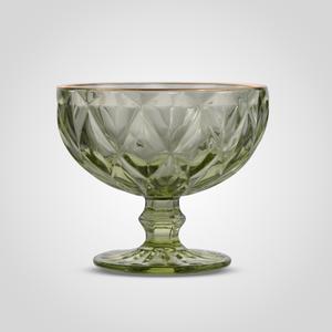 Стеклянная Зеленая Креманка с Золотистой Каймой