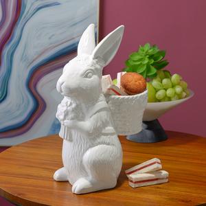 Белый Керамический Кролик-Милаш с Корзинкой и Цветами M