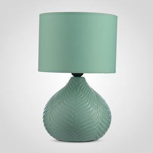 Интерьерная Керамическая Настольная Зеленая Лампа с Объемными Листьями