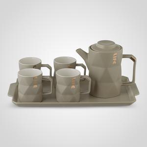 Керамический Серый Набор для Чаепития: Поднос, Чайник, 4 Кружки