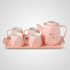 Керамический Розовый Набор для Чаепития: Поднос, Чайник, 4 Кружки