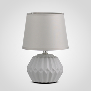 Интерьерная Керамическая Настольная Светло-Серая Лампа 26 см.