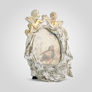 Фоторамка Ретро с Ангелочками (Белый+Золотистый)