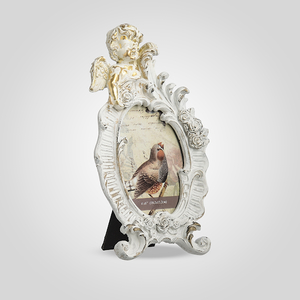 Фоторамка Ретро с Ангелочком Большая (Белый+Золотистый)