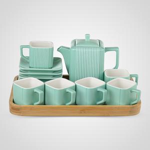 Керамический Зеленый Набор для Чаепития : Деревянный Поднос,Чайник, 6 чайных пар