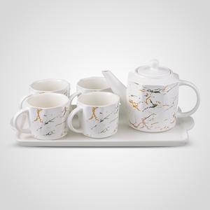Керамический Набор для Чаепития : Поднос,Чайник, 4 Кружки
