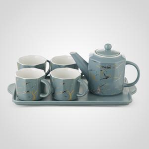 Керамический Серо-Голубой Набор для Чаепития : Поднос,Чайник, 4 Кружки