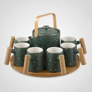 Зеленый Керамический Набор для Чаепития : Деревянный Поднос,Чайник, 6 Кружек