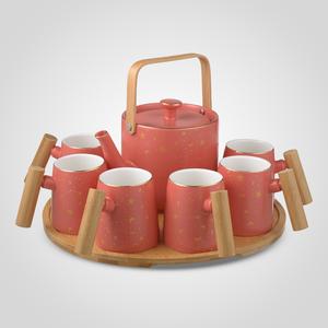 Керамический Набор для Чаепития : Деревянный Поднос, Чайник, 6 Кружек