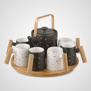 Керамический Набор для Чаепития : Деревянный Поднос,Чайник, 6 Кружек