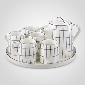 Керамический Набор для Чаепития : Поднос,Чайник, 6 Кружек