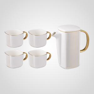 Белый Подарочный Керамический Набор для Чаепития: Чайник и 4 Кружки