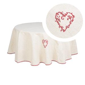 Скатерть круглая белый лен красная вышивка 2756-22M (180)