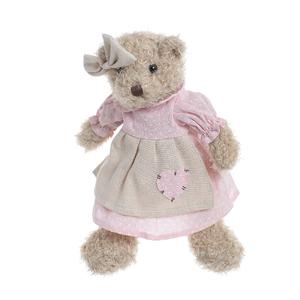 Медвежонок девочка в розовом платье с сердечком 30см B1203013A