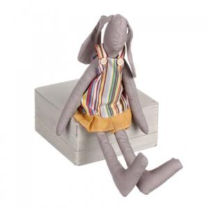 Заяц сидячий (девочка) серый с желтым 8х4х26 LJ87-0050