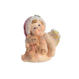 Ангел новогодний сидящий с мишкой 11х10х12см A304714
