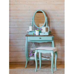Туалетный столик Leontina с овальным зеркалом, голубого цвета