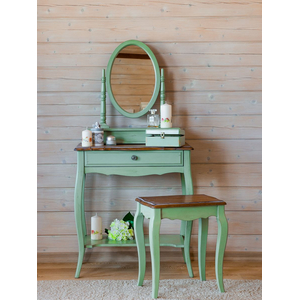 Туалетный столик Leontina с овальным зеркалом, зеленого цвета