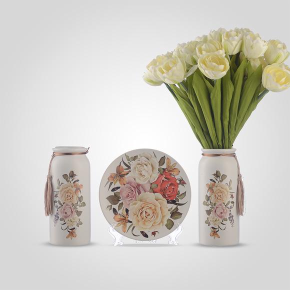 Керамический Набор из Двух Ваз и Тарелки на Подставке