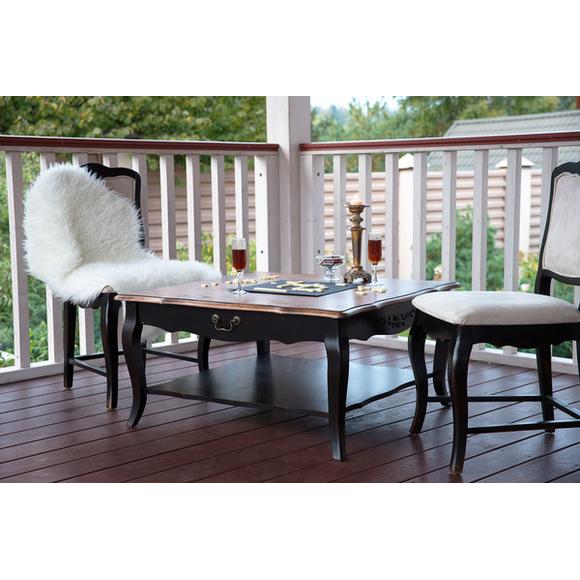 Квадратный низкий чайный столик черного цвета ST9117N