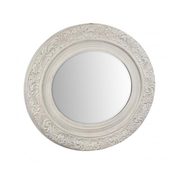 Зеркало с фаской в белой деревянной раме AN08-0006