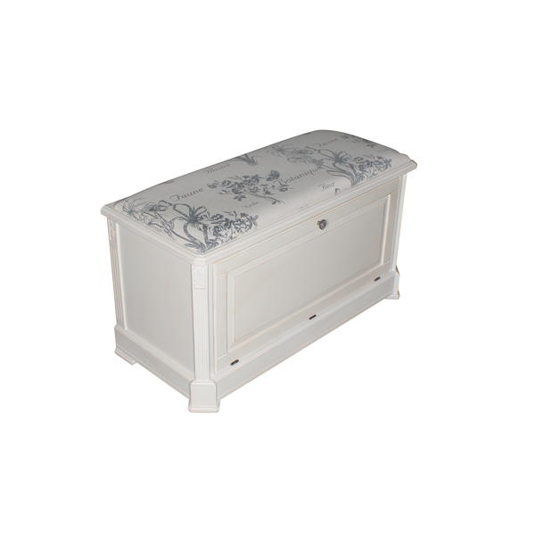 Ящик — сундук — пуфик с мягким сиденьем с гобеленовой тканью белого цвета ST9393 В (белый)