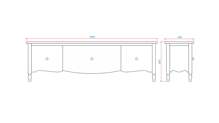 Тумба под ТВ голубая большая 3 ящика Leblanc NH-LG113