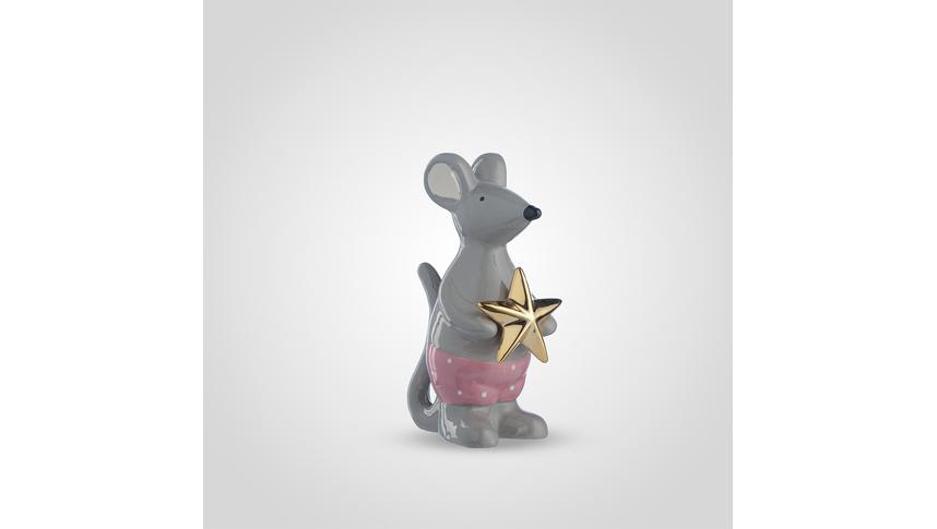 Мышка Керамическая с Золотистой Звездой 20 см.
