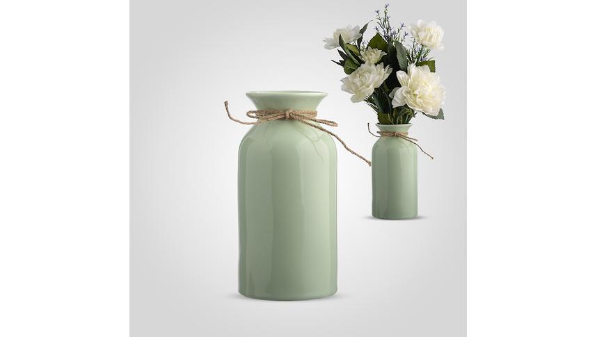 Ваза-Бутылка Керамическая Зеленая L
