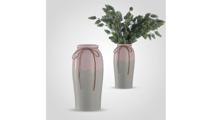 Ваза-Сосуд Керамическая с Бантиком Большая Серый/Розовый