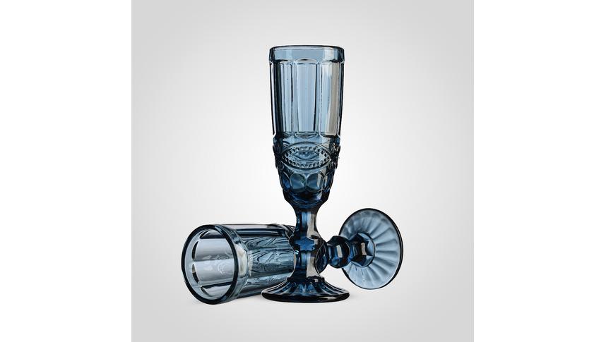 Набор синих стеклянных бокалов для шампанского