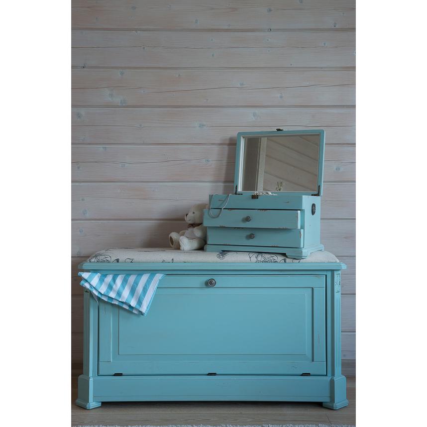 Ящик — сундук — пуфик с мягким сиденьем белый с гобеленовой тканью с фоном голубого цвета