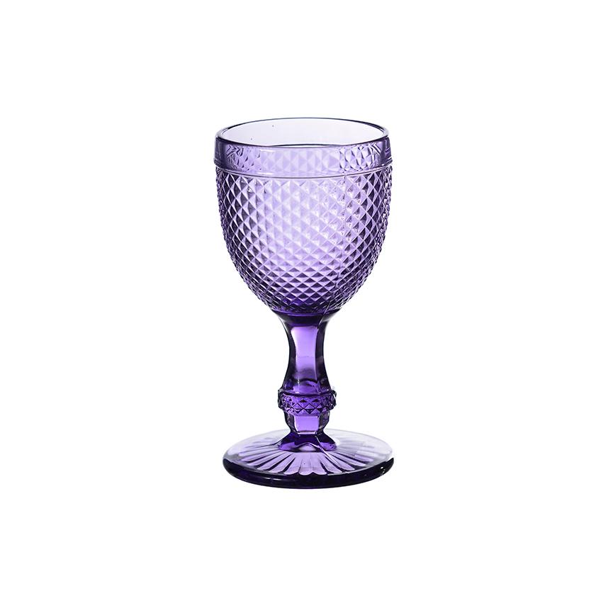 Набор бокалов для вина стеклянный Ромб нежный фиолет 300 ml 16,5 см 6 шт