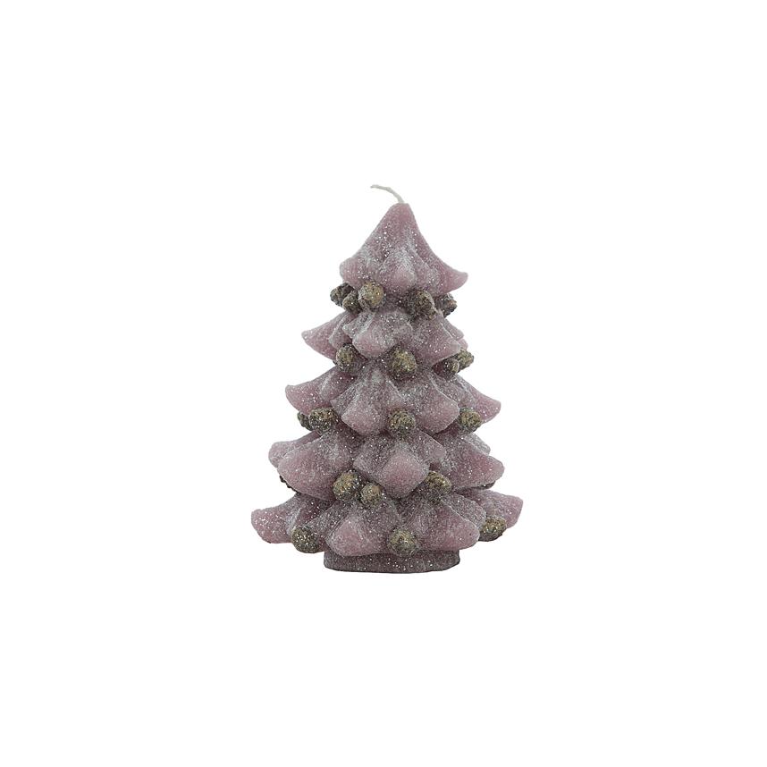Свечка елка розовая 11х11х15 см F10391AP
