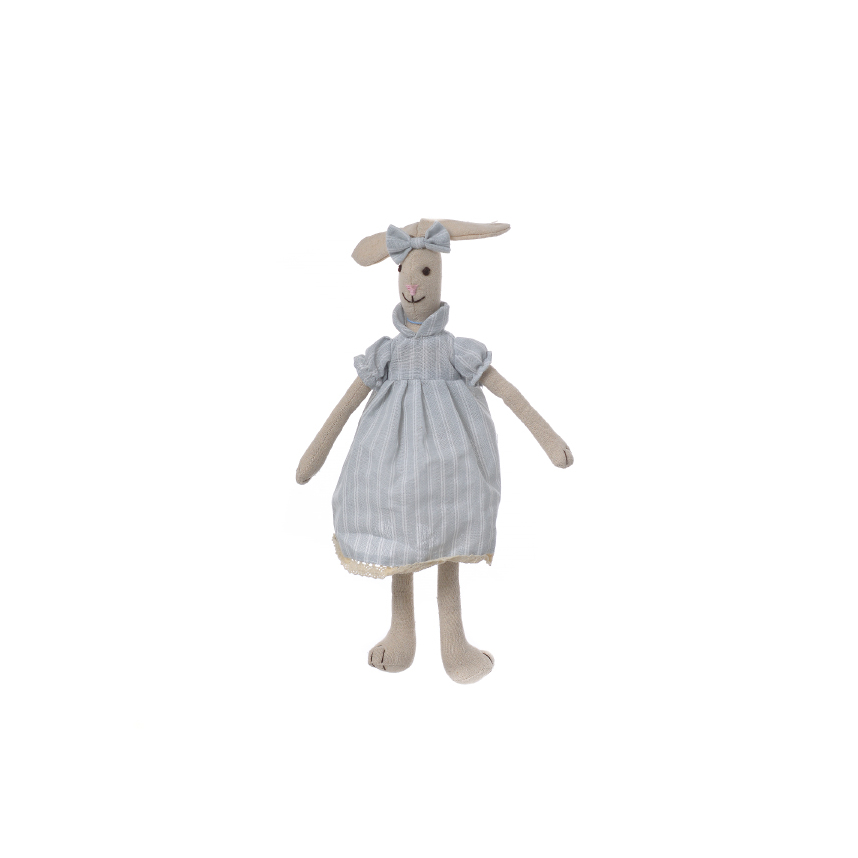 Кролик девочка в голубом платье с бантиком 35см M1203501B